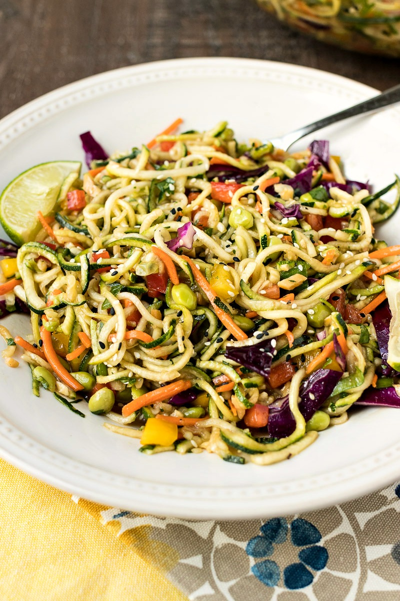 Finished plate of Asian Zoodle Salad