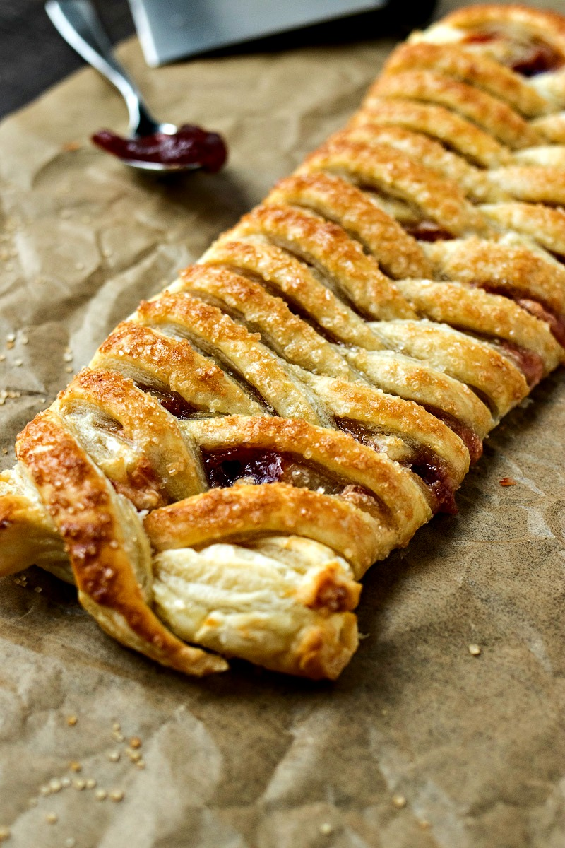 Guava Cream Cheese Pastry Braid on brown paper