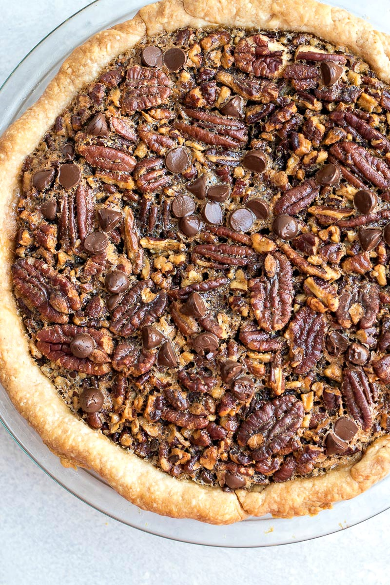 Chocolate Pecan Pie in a pie dish