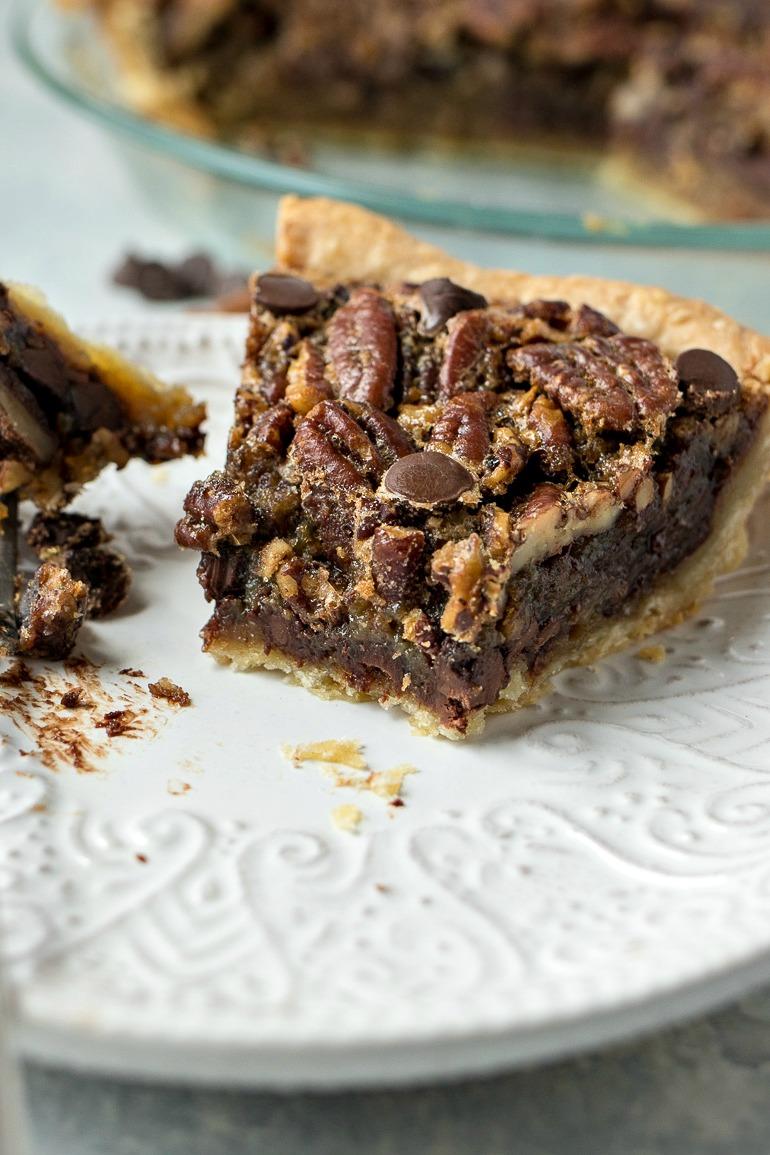 Half eaten slice of Chocolate Pecan Pie