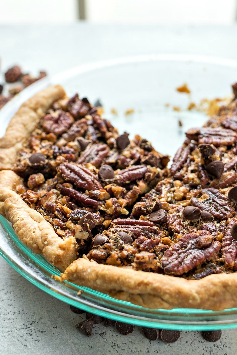 Chocolate Pecan Pie cut into slices