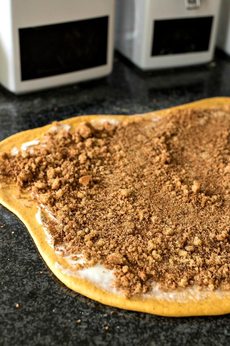 Pumpkin Cinnamon Roll dough before rolling into rolls