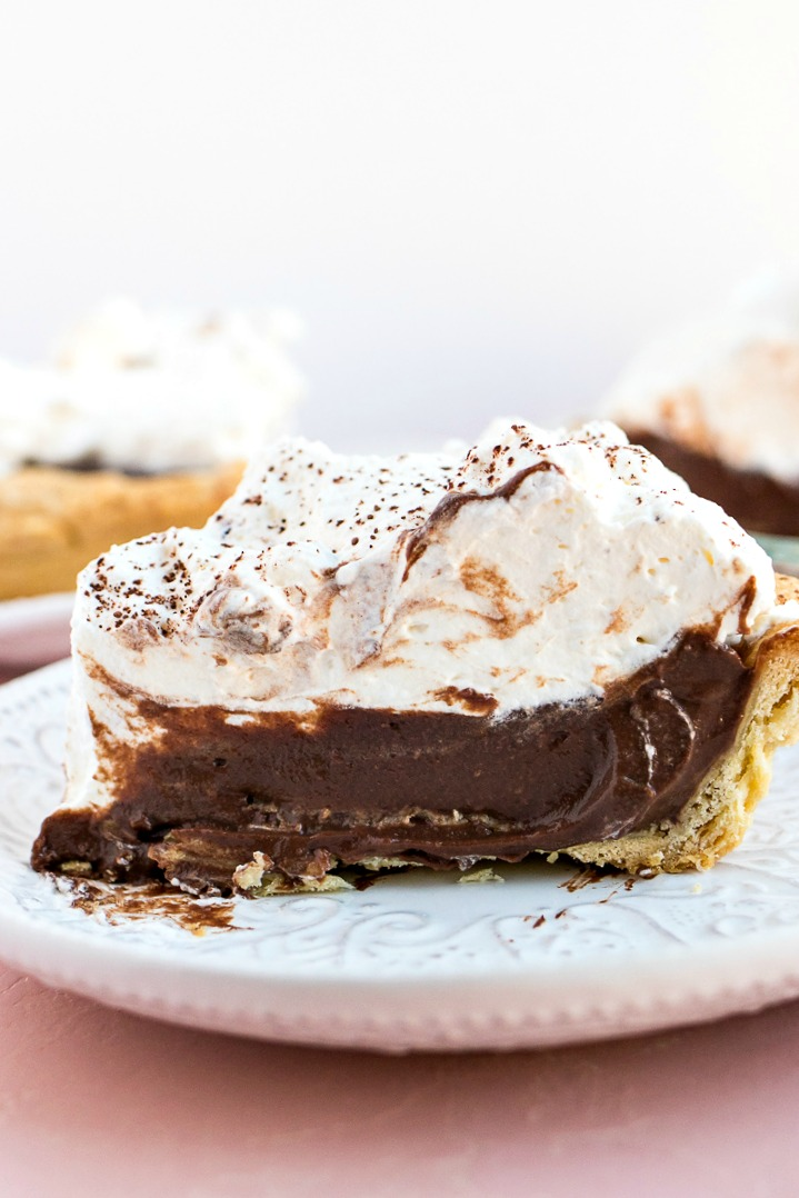 Slice of Chocolate Cream Pie on a white plate