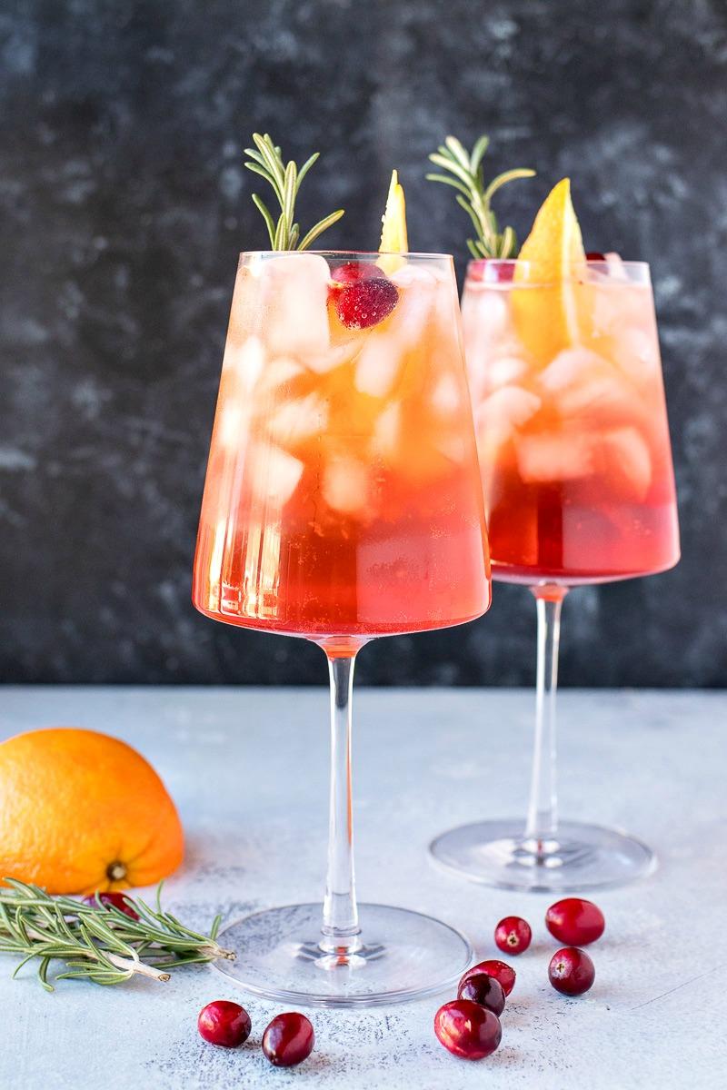 Glasses of Cranberry Orange Aperol Spritz