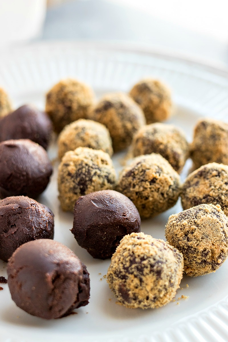 Plate of gingerbread coated Chocolate Gingerbread Truffles and truffles before being coated