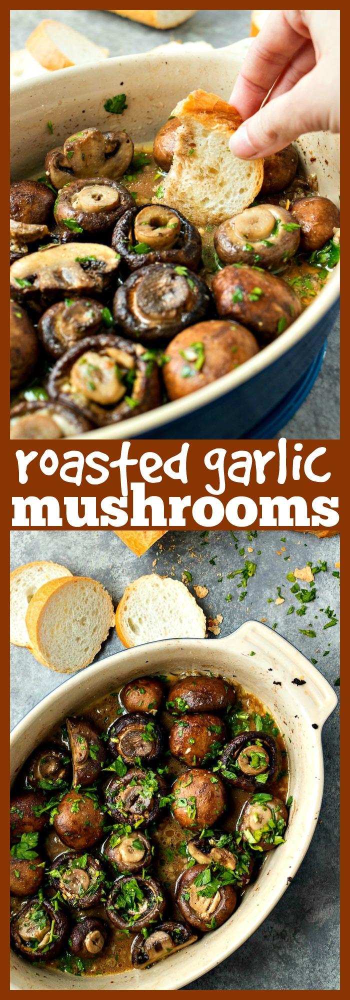 Roasted Garlic Mushrooms photo collage