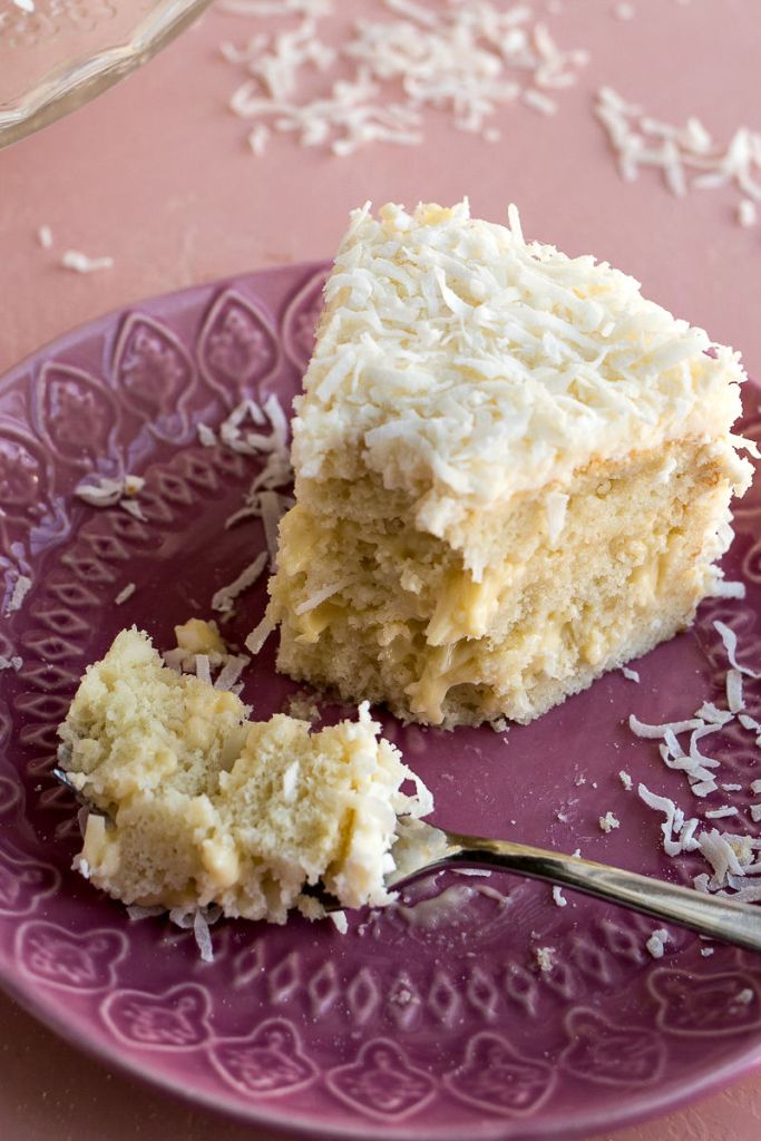 Piece of the finished Coconut Cream Cake