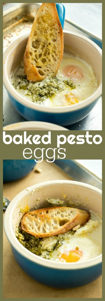 baked pesto eggs photo collage