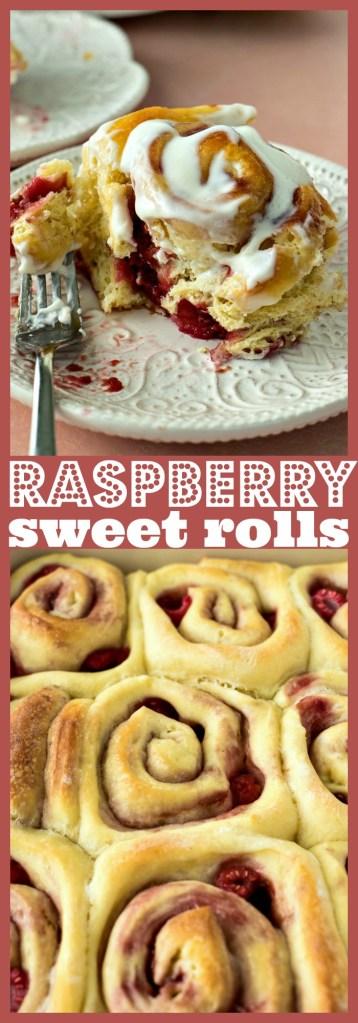 Raspberry Sweet Rolls photo collage