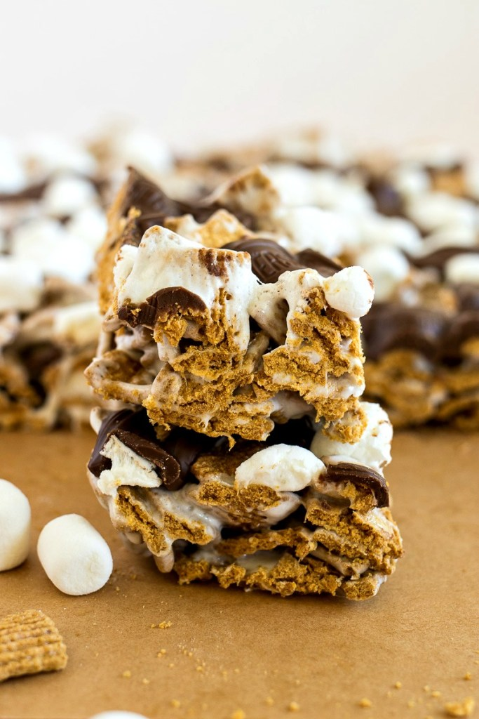 Stack of Crispy S'mores Bars cut into squares