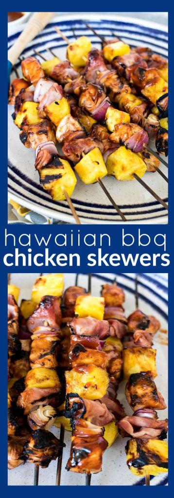 Hawaiian BBQ Chicken Skewers photo collage