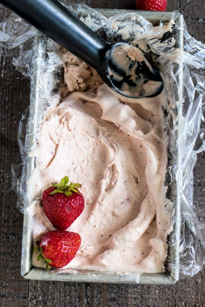 Metal container lined with plastic and filled with Strawberry Balsamic Ice Cream