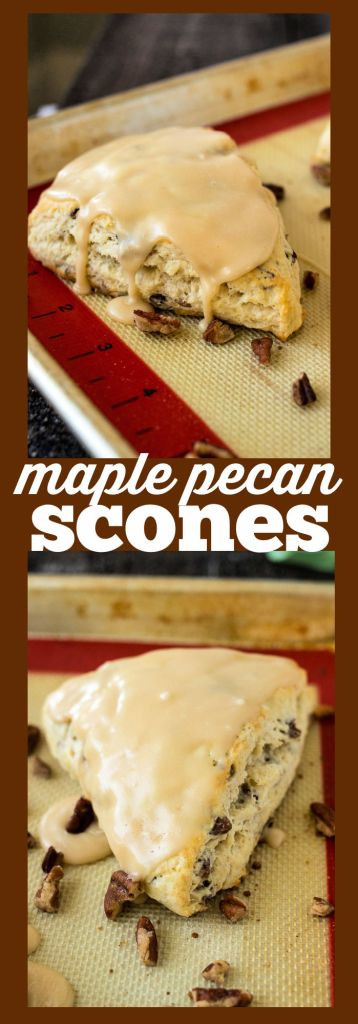 collage shot of maple pecan scones with descriptive text