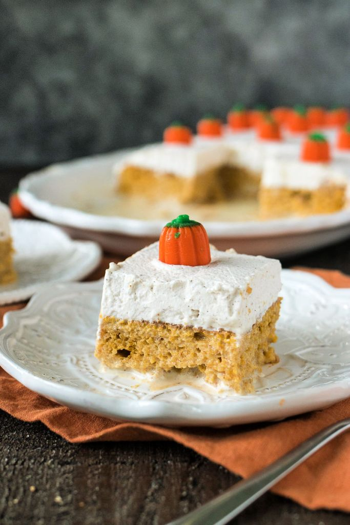 Pumpkin cake soaked in a mixture of tres leches, and covered with cinnamon whipped cream