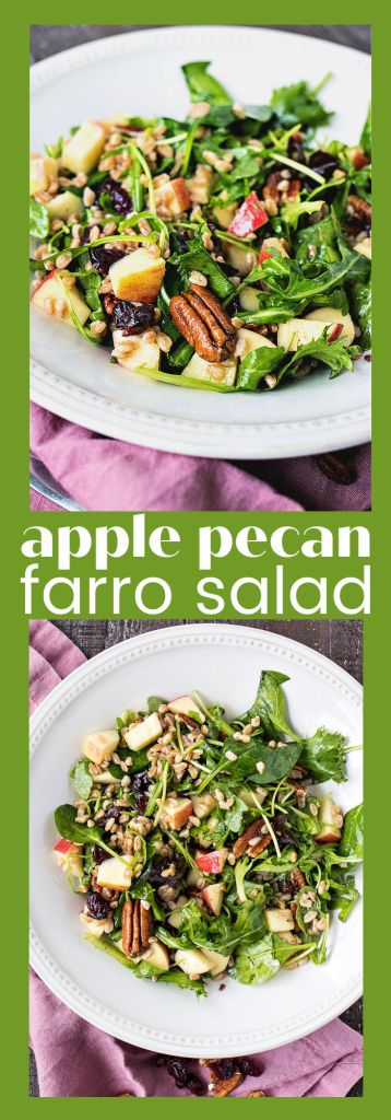 collage of apple pecan farro salad with descriptive text