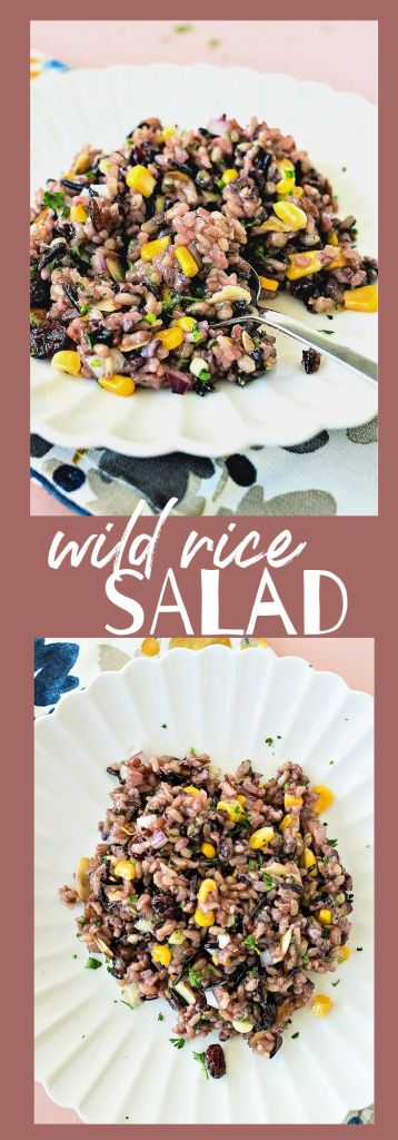 collage of photos featuring wild rice salad on a white plate