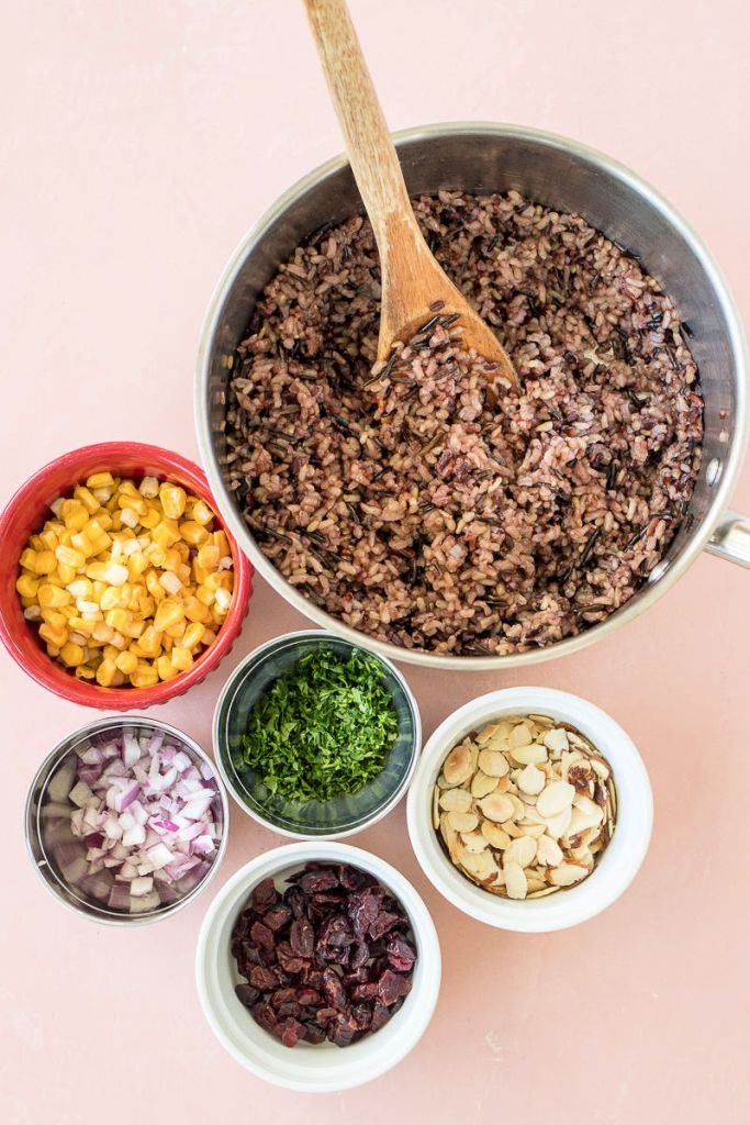 overhead shot of all ingredients used in wild rice salad