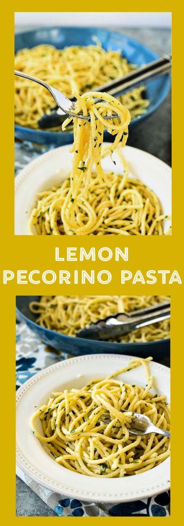 collage of photos for lemon pecorino pasta with descriptive text