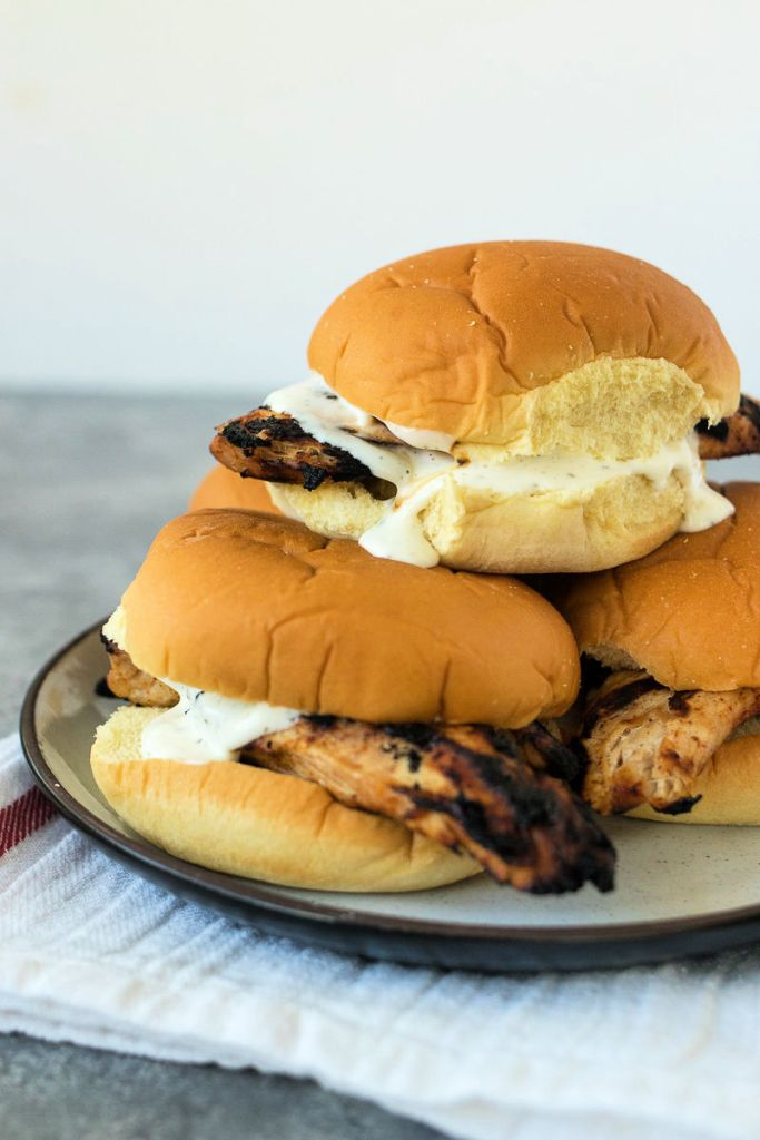 picture of two of my favorite grilled chicken sandwiches stacked on top of eachother