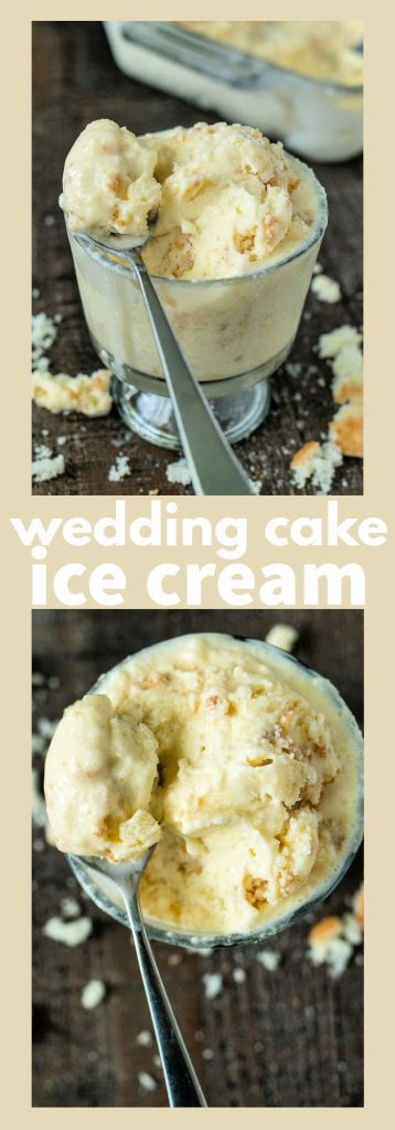 collage of wedding cake ice cream with descriptive text