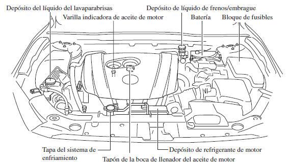 Mazda 3: Vista del compartimiento del motor