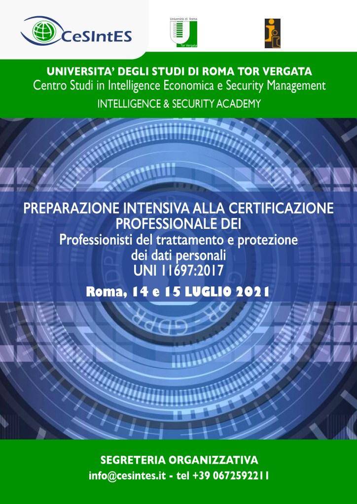 PREPARAZIONE INTENSIVA ALLA CERTIFICAZIONE PROFESSIONALE DEI Professionisti del trattamento e protezione  dei dati personali  UNI 11697:2017