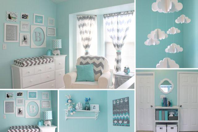 Une chambre de bb bleue et grise  Cest a la vie
