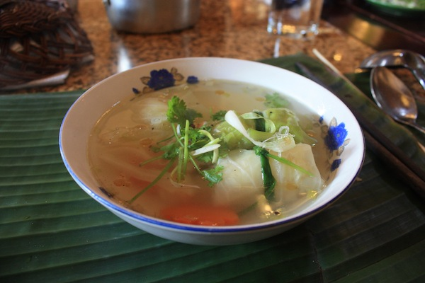 Cabbage leaf parcels with shrimp mousse in broth at Morning Glory Cooking Class, Hoi An, Vietnam