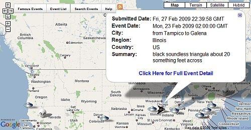 Mapa de relatos OVNI em tempo real