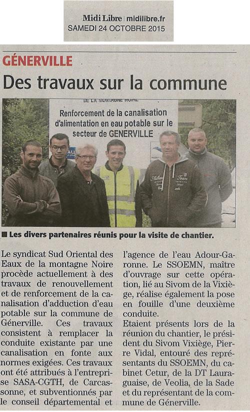 canalisation d'eau potable à Generville