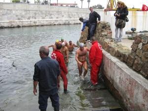 Grupo de nadadores llegando a meta