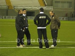 Pepe, 'Mane, Ángel Moreno y Álvaro Pérez, en el primer entreno de la semana