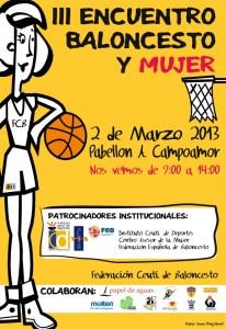 Cartel anunciador del III Encuentro Baloncesto y Mujer Ceuta 2013