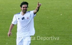 Jesús Villatoro celebra un gol en el partido ante el Sevilla C
