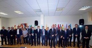 Márquez Salinas, el primero por la izquierda, esta mañana en la Conferencia Interterritorial para el Deporte en Pontevedra