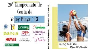 Cartel del 20º Campeonato de Ceuta de voley-playa'13