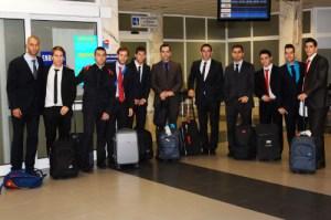 Los seleccionados españoles, a su llegada al Puerto de Ceuta