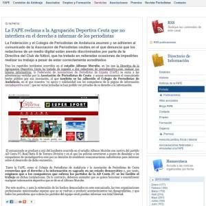 Reproducción del comunicado publicado este miércoles en la web de la Federación de Asociaciones de Periodistas de España
