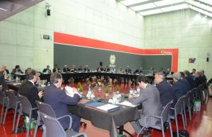 La reunión de la junta directiva de la RFEF se celebró en Bilbao con motivo del centenario de la Federación vizcaína de fútbol