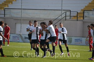 Los jugadores del Ceutí celebran el gol de Yunes en el minuto 5
