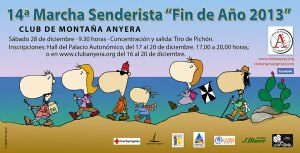 Cartel anunciador de la 14ª Marcha Senderista Fin de Año del Club Anyera