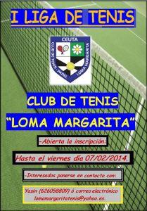 Cartel de la I Liga de tenis del club de Tenis y Pádel Loma Margarita