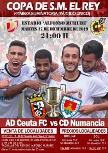Cartel anunciador de la eliminatoria copera entre Ceuta y Numancia