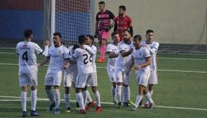 Jugadores de la AD Ceuta FC celebran un gol