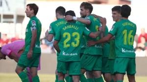 Jugadores de la Real celebran uno de sus goles en el Murube