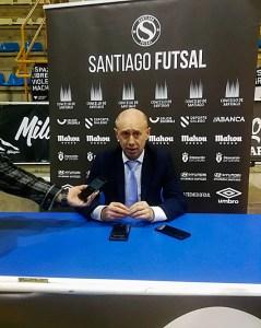 Santi Valladares, durante la rueda de prensa posterior al partido en Santiago