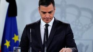 Pedro Sánchez, presidente del Gobierno, durante la rueda de prensa de este domingo