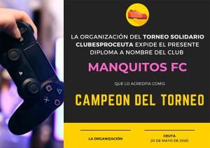 Certificado de campeón entregado por la organización al Manquitos FC