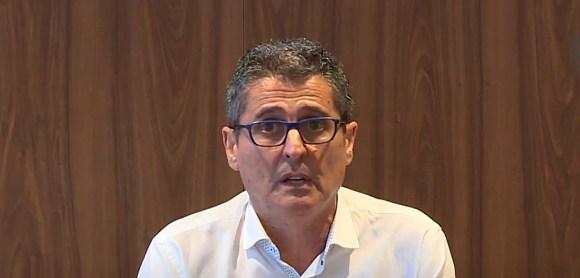 García Gaona, durante su comparecencia de prensa en la Ciudad del Fútbol de Ceuta