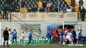 Un lance del Ceuta - Xerez DFC de la pasada temporada, que acabó con triunfo visitante por 0-1